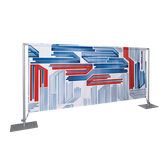 The Barrier System Basic is a budget-friendly barrier display that has a custom print and assembles easily.