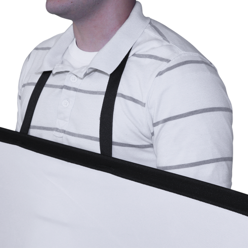 This Pop Out Walking Billboard model adds a neck strap to a Pop Out panel to create a mobile display