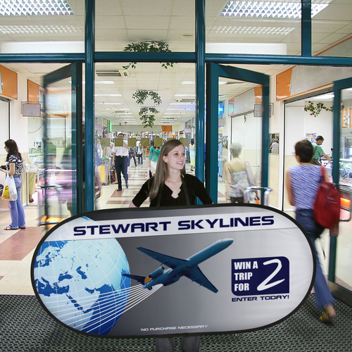 This Pop Out Walking Billboard can be used to attract attention in high traffic areas indoors and outdoors
