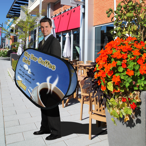 This sandwich board display can be used to attract an audience's attention in high-traffic areas