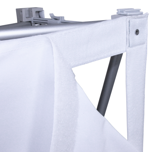 Your client's custom print attaches to the Pop Up using hook-and-loop fastener around the perimeter of the frame