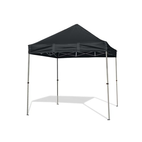Our compact canopy shown with two full walls and one half wall