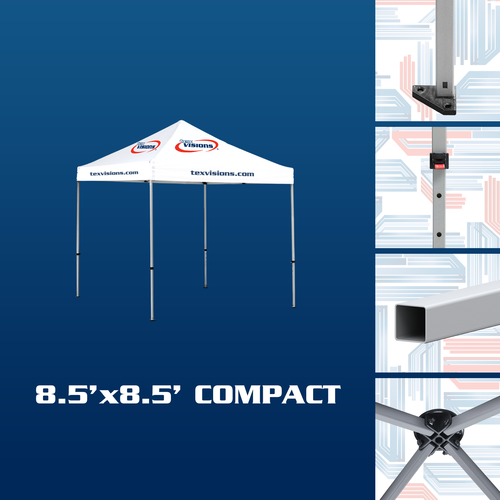 Compact Tent Frame features square aluminum tent legs with adjustment levers and triangular feet