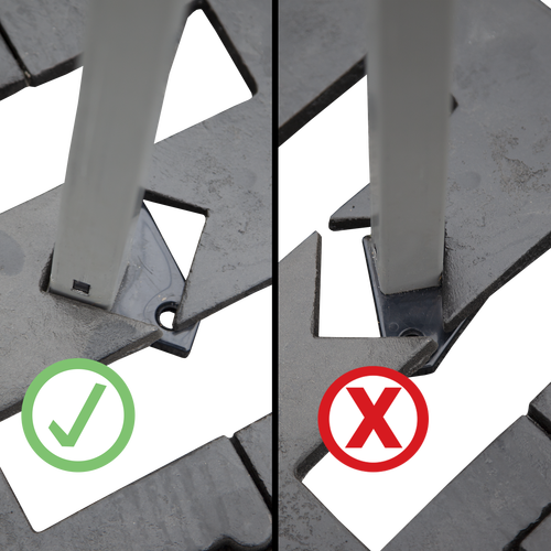 When using with round steel base plates - make sure the back (not the side) of the tent leg is butting against the corner of the opening