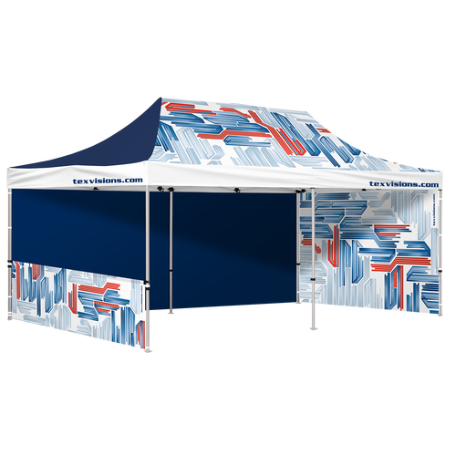 10 x 20 tent shown with two full walls and one half wall