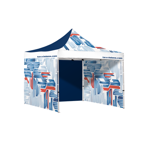 10 x 10 tent shown with three full walls