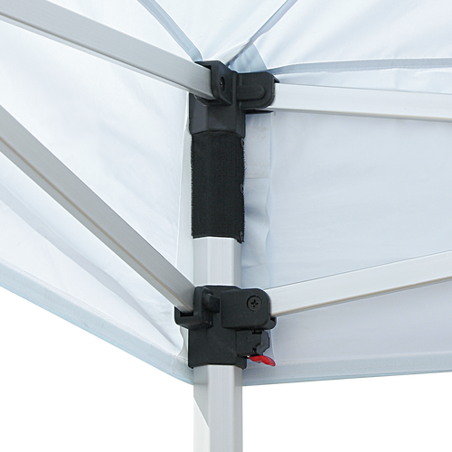 Hook-and-loop fastener allows canopy to fit snugly to frame