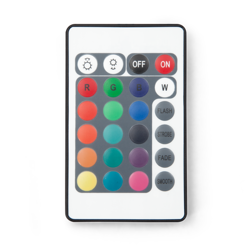 Remote controls on/off function, 16 colors and 4 mode selections including speed of color changing