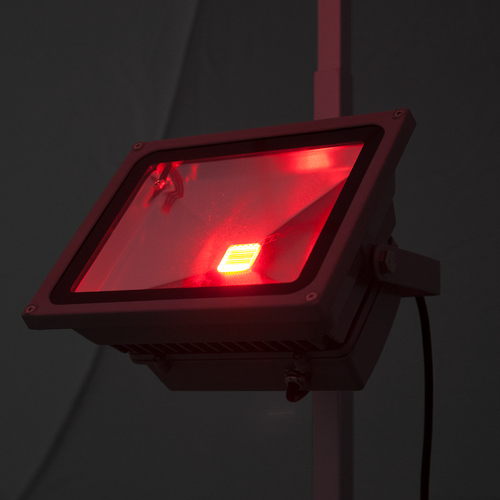 LED flood light with red color setting