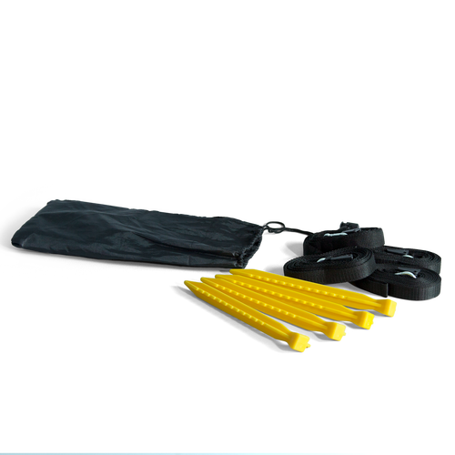 Kit includes 4 PVC stakes, 4 webbing sections and a bag