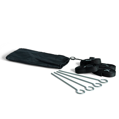 Kit includes 4 steel stakes, 4 webbing sections and a bag