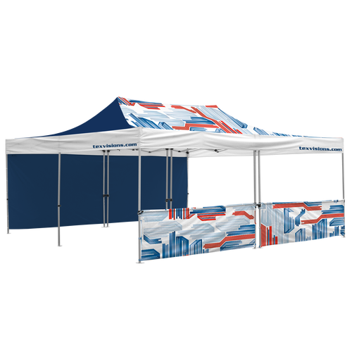 20' x 20' Tent with custom canopy, 1 full and 1 half wall. Half wall consists of 2 half walls leaving a small gap in the center