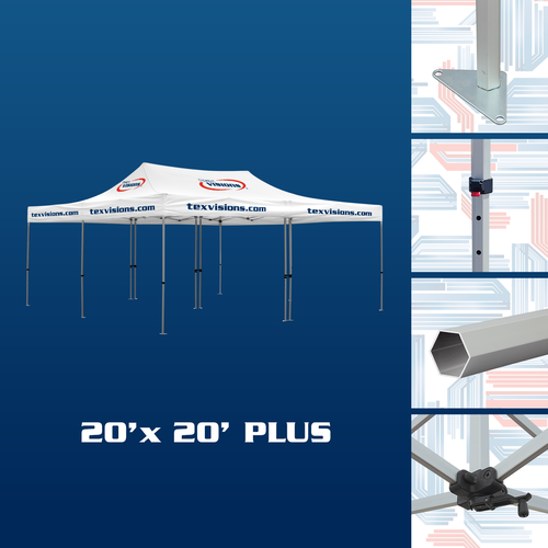 20 x 20 Plus Tent Frame consist of 2 connected 10 x 20 frames which makes storage and transport easy