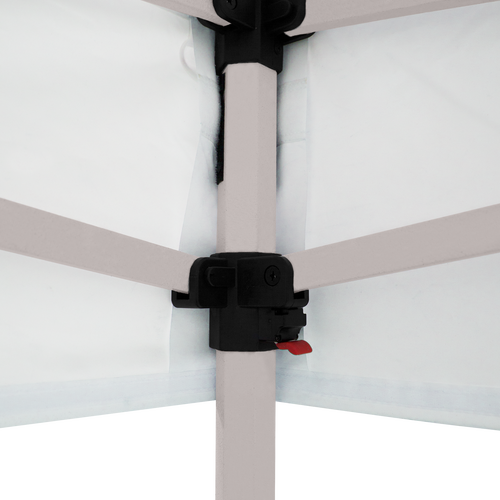 Stock white canopy is connected to the frame with hook-and-loop fasteners