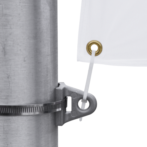 Eyelet brackets allow banner to hang from street light poles