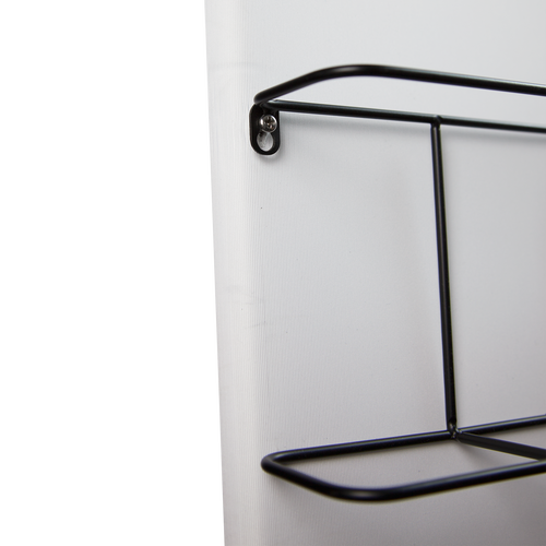 Optional brochure holders are secured to the display