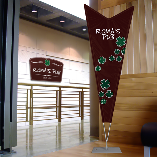 Custom print features printed pole sleeves to provide the most advertising space possible