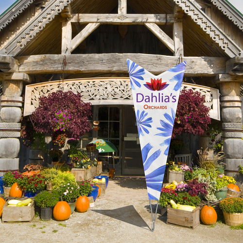 Your client can use the Arrow flag indoors or outdoors with a single-reverse or double-sided print