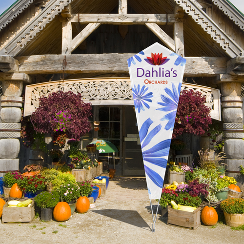 The Shield Flag can be used indoors or outdoors with a single-reverse or double-sided print