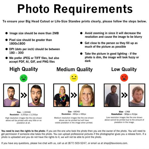Photo Stand Ins Printing Requirements
