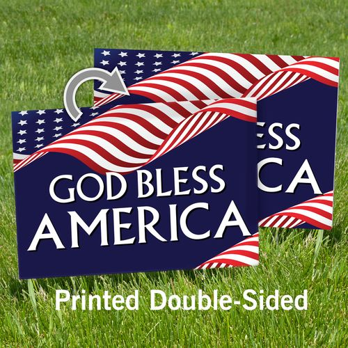Double-Sided God Bless America Yard Sign