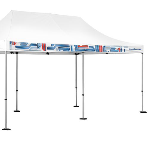 Add graphics to the Interchangeable banner valance to promote company branding