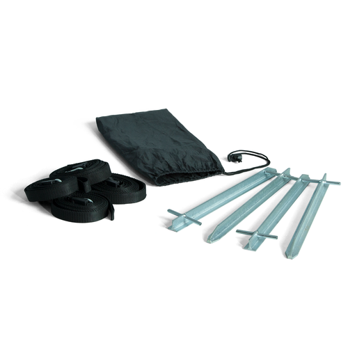 Kit includes 4 heavy-duty stakes, 4 webbing sections and a bag