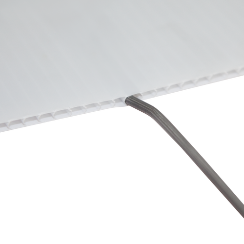 Sign stake premium features a bend in the metal to securely attach to the flutes