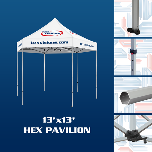 Hex Pavilion Tent Frame features hexagonal aluminum tent legs with adjustment levers and rooftop crank