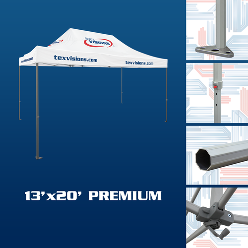 Premium Tent Frame features octagonal aluminum tent legs with thick steel feet and adjustment levers and rooftop crank