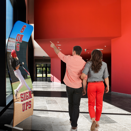 Large indoor signage in a shape that draws attention and with a print made of natural looking polyester fabric material