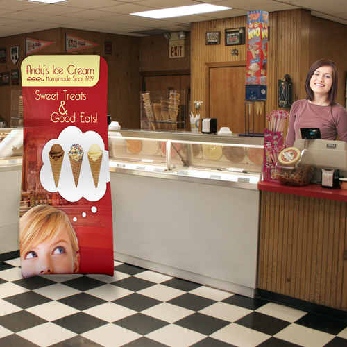 The Snake Tension Fabric Display is also great for ice cream shops and other eateries