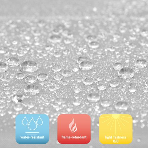 Tent material is water-resistant and flame retardant