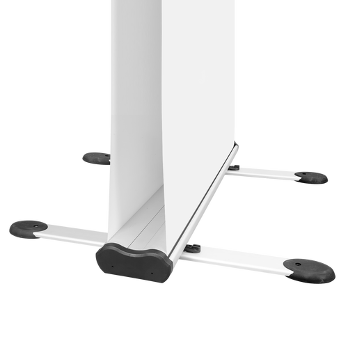 Stabilizing feet keeps display upright on uneven ground