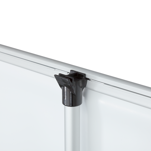 Support pole features black plastic hook where print clamping rails secure to